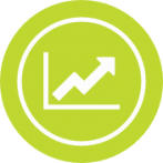 Green circle shaped icon with an arrow pointing up a chart