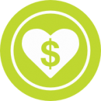 Green circle shaped icon with a heart and bookmark