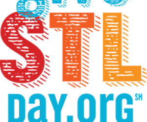 bold shadowed letters that read giveSTLday.org